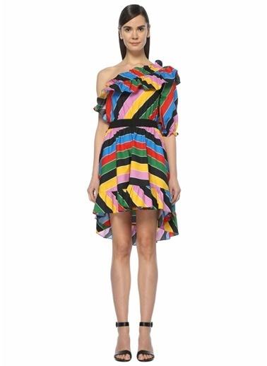 Philosophy Di Lorenzo Serafini Tek Omzu Açık Çizgili Volanlı Mini Elbise Renkli